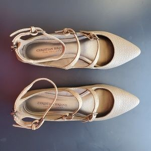 Taupe Ankle Strap Pointed Toe Flats